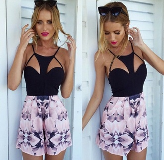 dress black flowered shorts
