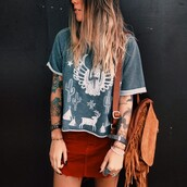 fringed bag,fringe backpack,t-shirt,hippie,skirt,boho