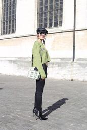from brussels with love,blogger,sweater,pants,shoes,bag,green sweater,shoulder bag,ankle boots