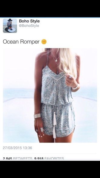 romper oceanromper ocean blue white grey purple v neck spaghetti strap