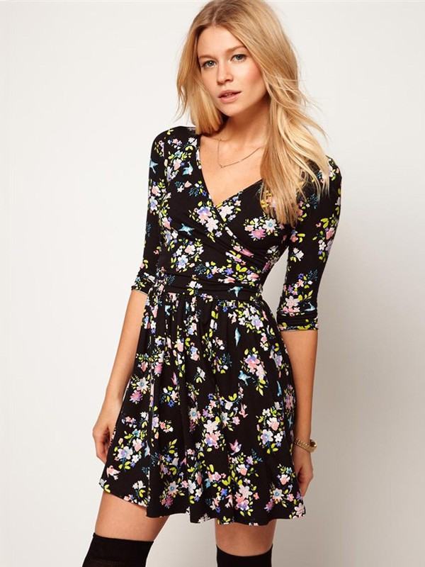 d3c7691d6d Summer Sexy Stylish Deep V-neck Loose Black Floral Printed Dress ...