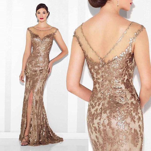 20fe9538e061 dress, cameron blake, gold dress, mob dress, side split, evening ...