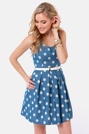 Blue Dress - Polka Dot Dress - Sleeveless Dress - $39.00 on imgfave
