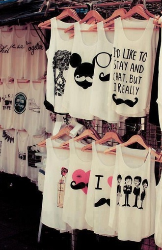 tank top top moustache lovely hipster whatever t-shirt blouse fashionista summer girl teenagers perefct clothes mickey mouse disney white tank top white heart girly summer top perfecto black the beatles quote on it shirt variety cute home accessory jewels