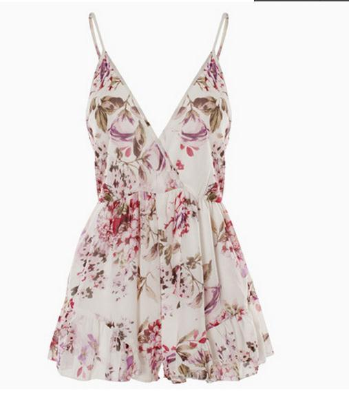 Cute flower chiffon conjoined shorts playsuit