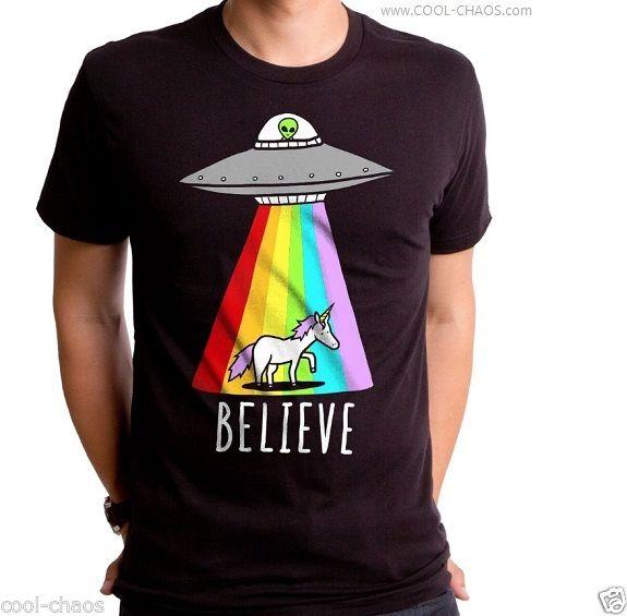 Unicorn Flying Saucer Alien T Shirt Truth Believe in Aliens Rainbows Unicorns | eBay