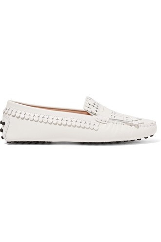 moccasins leather white shoes