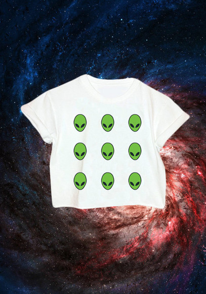 t-shirt t shirt top white green alien crop tops alien print 90s grunge white crop tops aliens