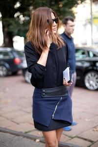 skirt blue skirt black leather christine centenera harpers bazaar stylish