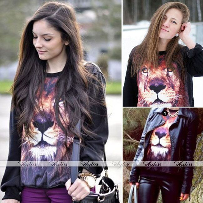 Women Lion Print 3D Jumper Coat Jacket Pullover Sweatshirt Tops Long Sleeve Cool | eBay