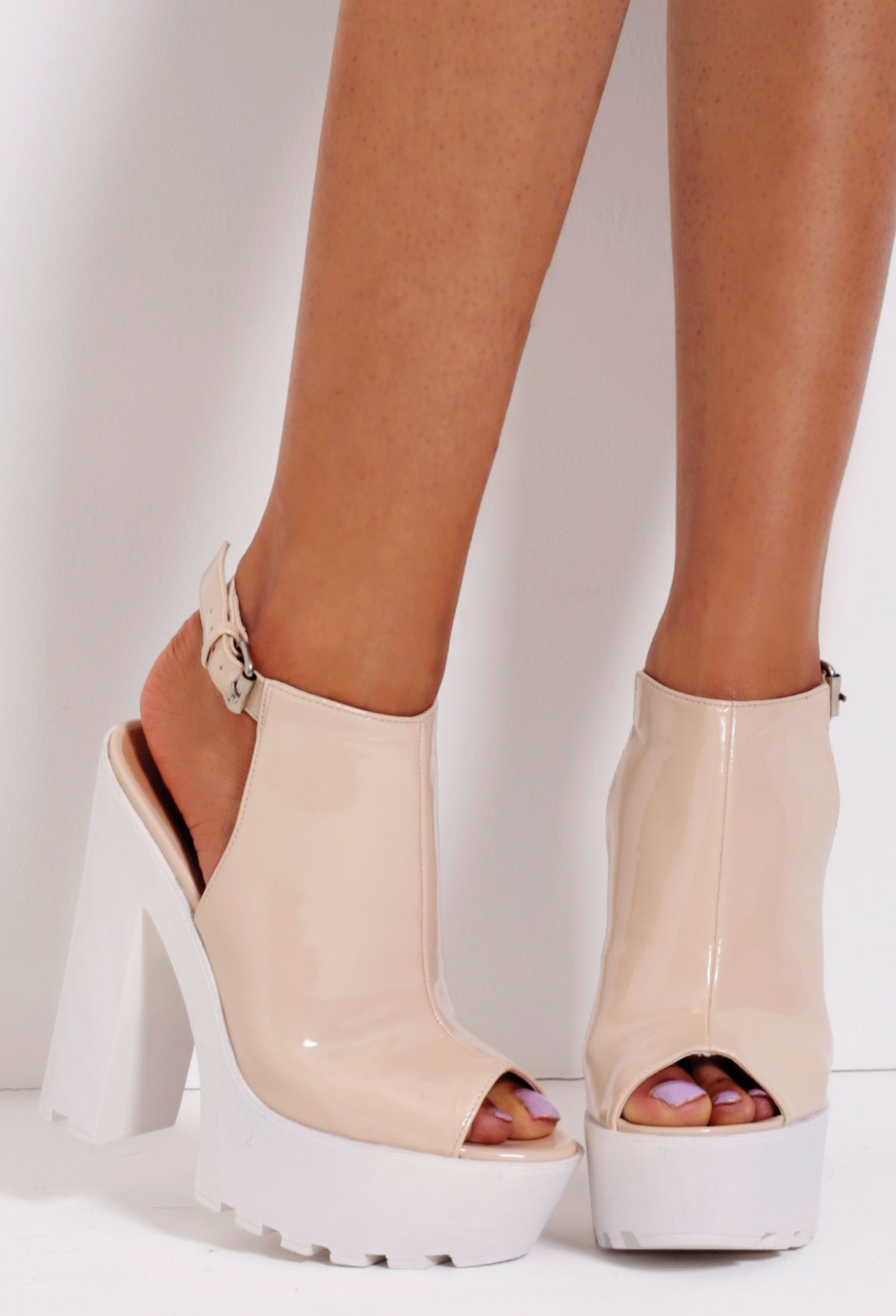 Cappucino Nude Patent Slingback Tractor Sole Platform Shoes | Pink Boutique