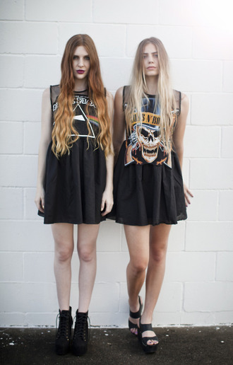 dress rock guns and roses pink floyd print dress grunge both hipster punk soft grunge skater dress shirt grudge black skater skirt tank top band merch grunge dress