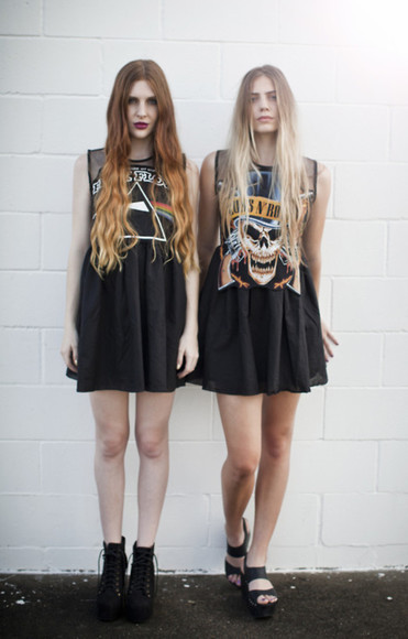 print dress dress rock guns and roses pink floyd grunge both