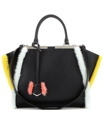 fur leather black bag