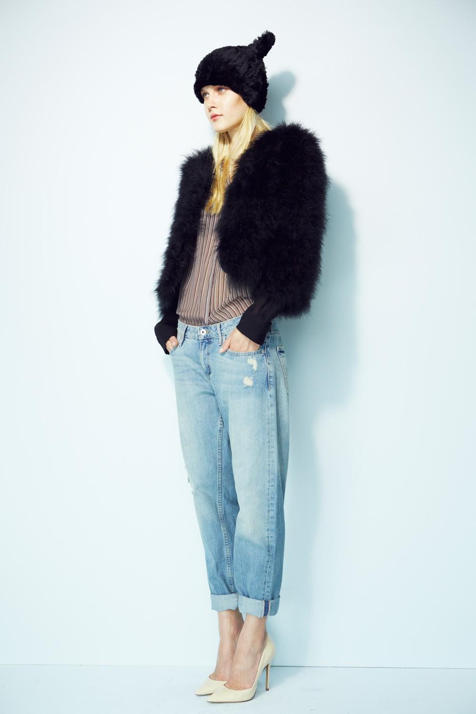 Fifi marabou feather 3/4 sleeve bolero – women's high end fur vests – shop jocelyn
