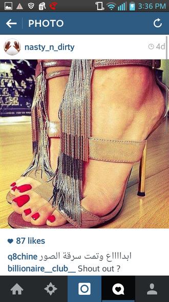 shoes metallic shoes metallic fringe shoes fringe heels high heel sandals ankle strap heels
