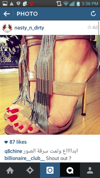 shoes metallic metallic shoes fringe shoes fringe heels high heel sandals ankle strap heels