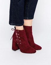 shoes,asos,red,suede boots,lace up,ankle boots
