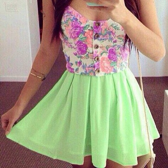 colourful dress green bright skater dress pretty nice