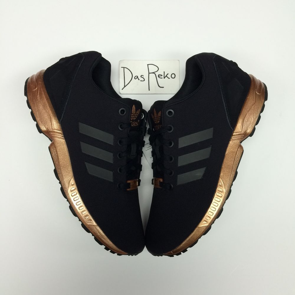 c6979cae2f8ed WOMENS ADIDAS ZX FLUX CORE BLACK COPPER S78977 TORSION NEW LIMITED ROSE GOLD