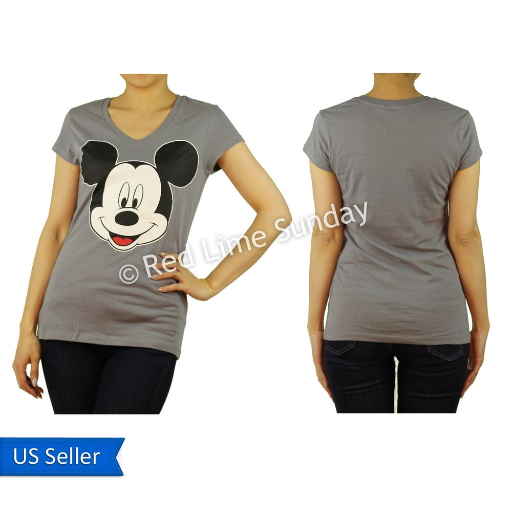 Disney Cute Gray Mickey Mouse Face Print Cotton Color T Shirt Top Junior New