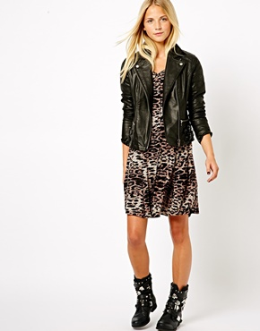 New Look | New Look Leather Biker Jacket at ASOS