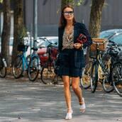 shorts,checkered,check blazer,sandal heels,printed shirt,bag,sunglasses