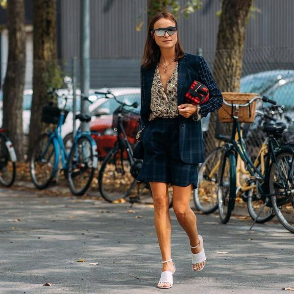 shorts checkered check blazer sandal heels printed shirt bag sunglasses