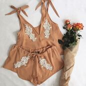 underwear,lace lingerie,rust,silk,pajamas,tank top,nightwear