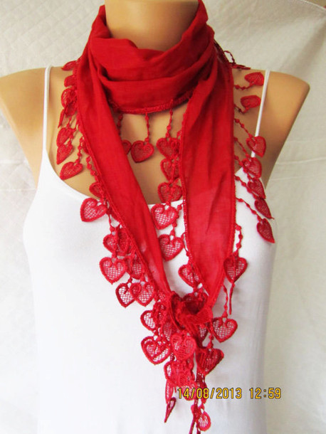scarf red lace red scarf woman fashion fashion accessories edit tags