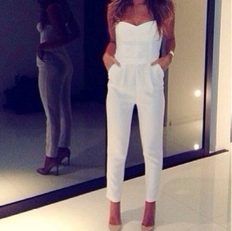 dress jumper romper white braclet high heels pants jumpsuit