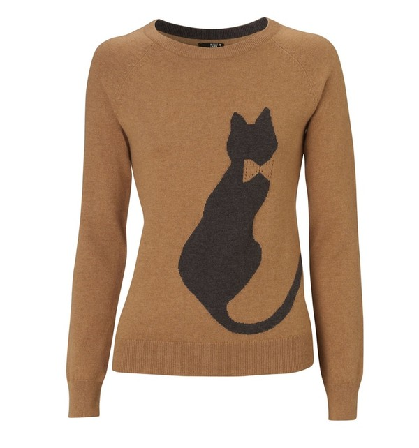 sweater cats jumper brown jumper brown sweater
