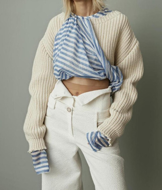 sweater tumblr nude sweater oversized sweater top striped top stripes pants white pants high waisted pants