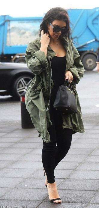 coat green coat kim kardashian