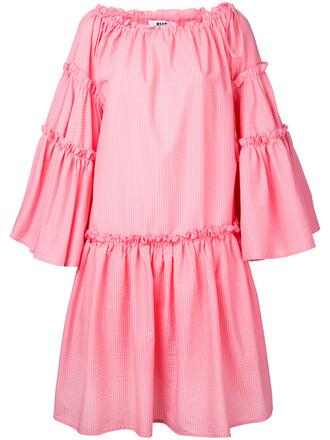 dress ruffle women cotton purple pink