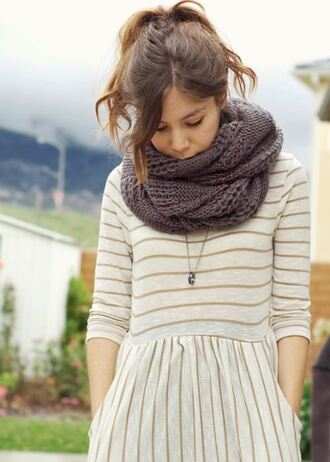 pocket dress dress striped dress vertical stripes clothes white dress brown stripe scarf knitted scarf