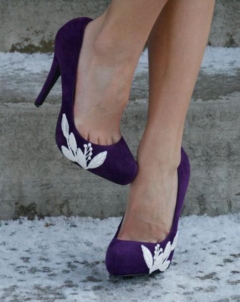 shoes purple shoes white lace heels