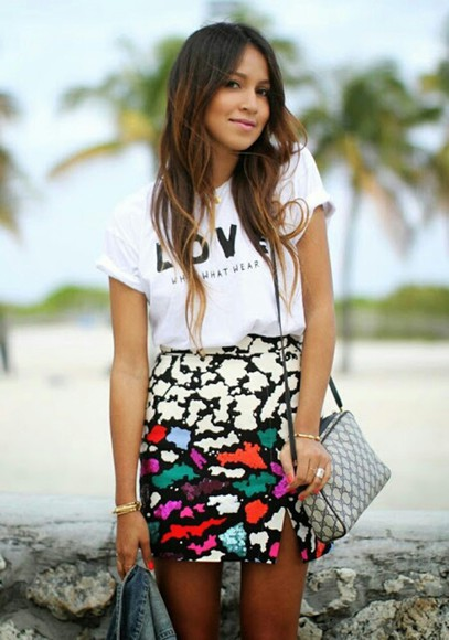 black white skirt cute multi colored orange green