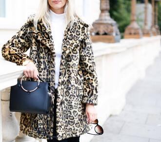 coat tumblr fluffy printed coat leopard print animal print bag black bag sweater white sweater turtleneck turtleneck sweater