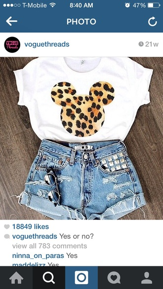shirt mickey and minnie tee leopard print tee white t-shirt