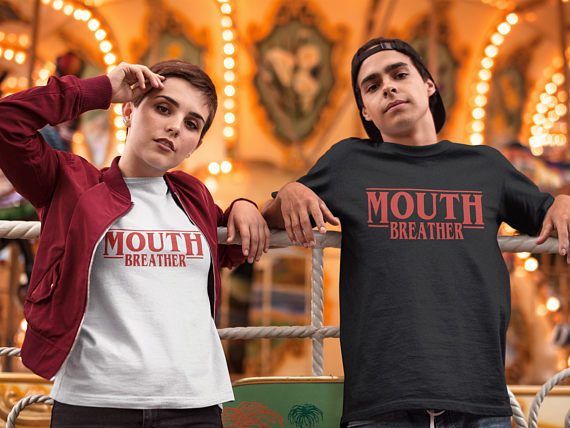 Mouth Breather Tshirt, Stranger Things Shirts, Netflix T-shirt 100% Cotton Girls Boys Tees Tv Show T Shirts Tv Series
