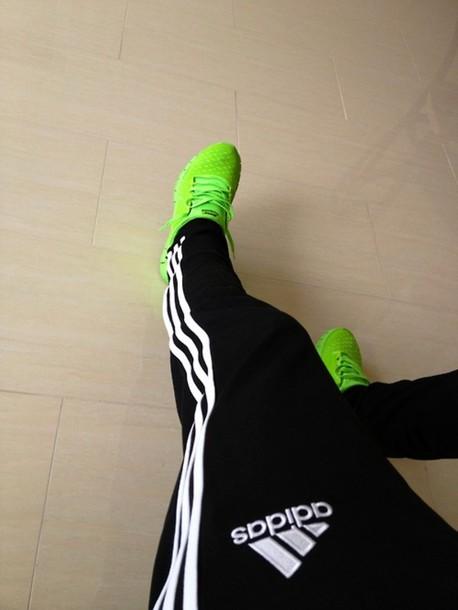 pants adidas track pants tumblr black white green shoes