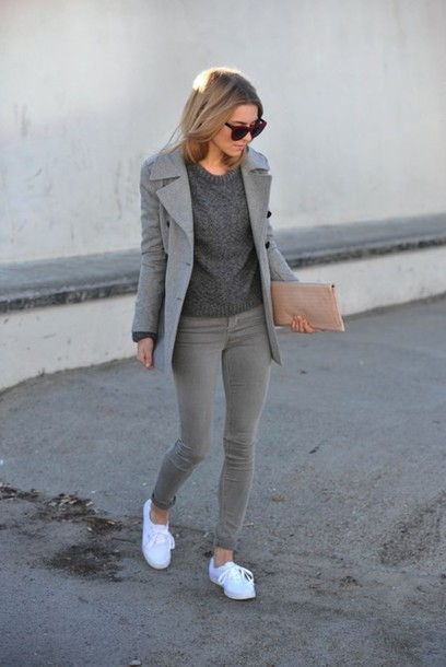 Sweater all grey everything tumblr all grey outfit jeans grey jeans sneakers low top ...
