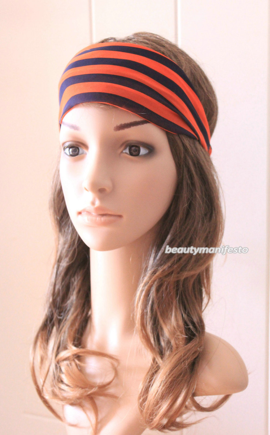 Turban headband running twist headband orange blue stripe yoga headband wide headband women's hair accessory girls headband