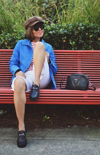 mysmallwardrobe blogger jacket sweater shoes hat sunglasses bag jewels blue jacket black bag loafers gucci shoes fall outfits