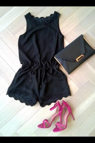 shoes sandals heels fashion style jumpsuit black jumpsuit shorts black combi romper black heels black summer black lace black dress lace dress black lace dress summer outfits dress nike shoes black romper