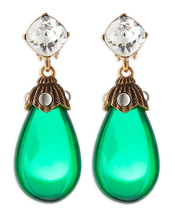jewels green earrings teardrops gold crystal green crystals