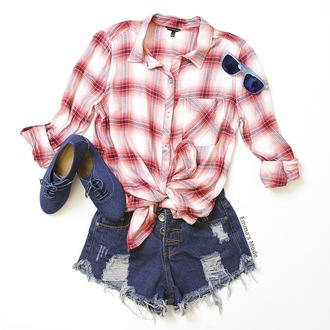 shoes oxfords plaid shirt cropped shorts denim shorts long sleeves