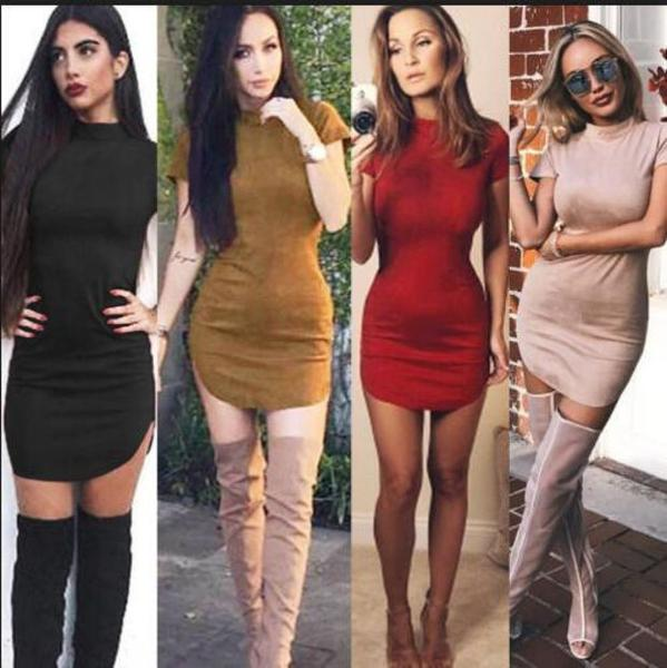 Fashion Suede Solid Color Mini Dress
