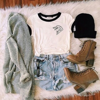shirt shoes boots brown light brown faux leather white shorts blazer beanie glasses black grey pizza lover cute outfit tumblr outfit